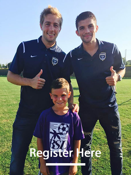 Youth Player Posing With Armada Players; Register Today